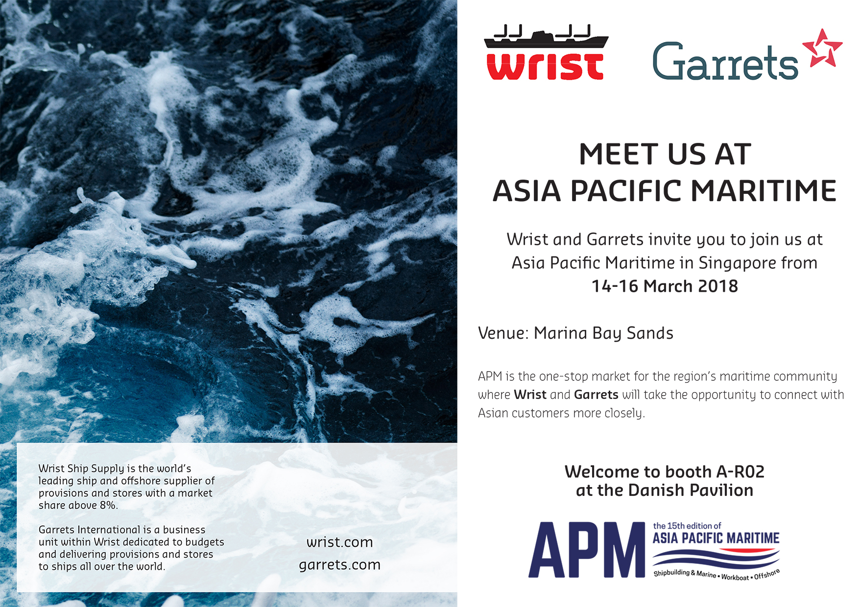 Garrets International Meet us at Asia Pacific Maritime